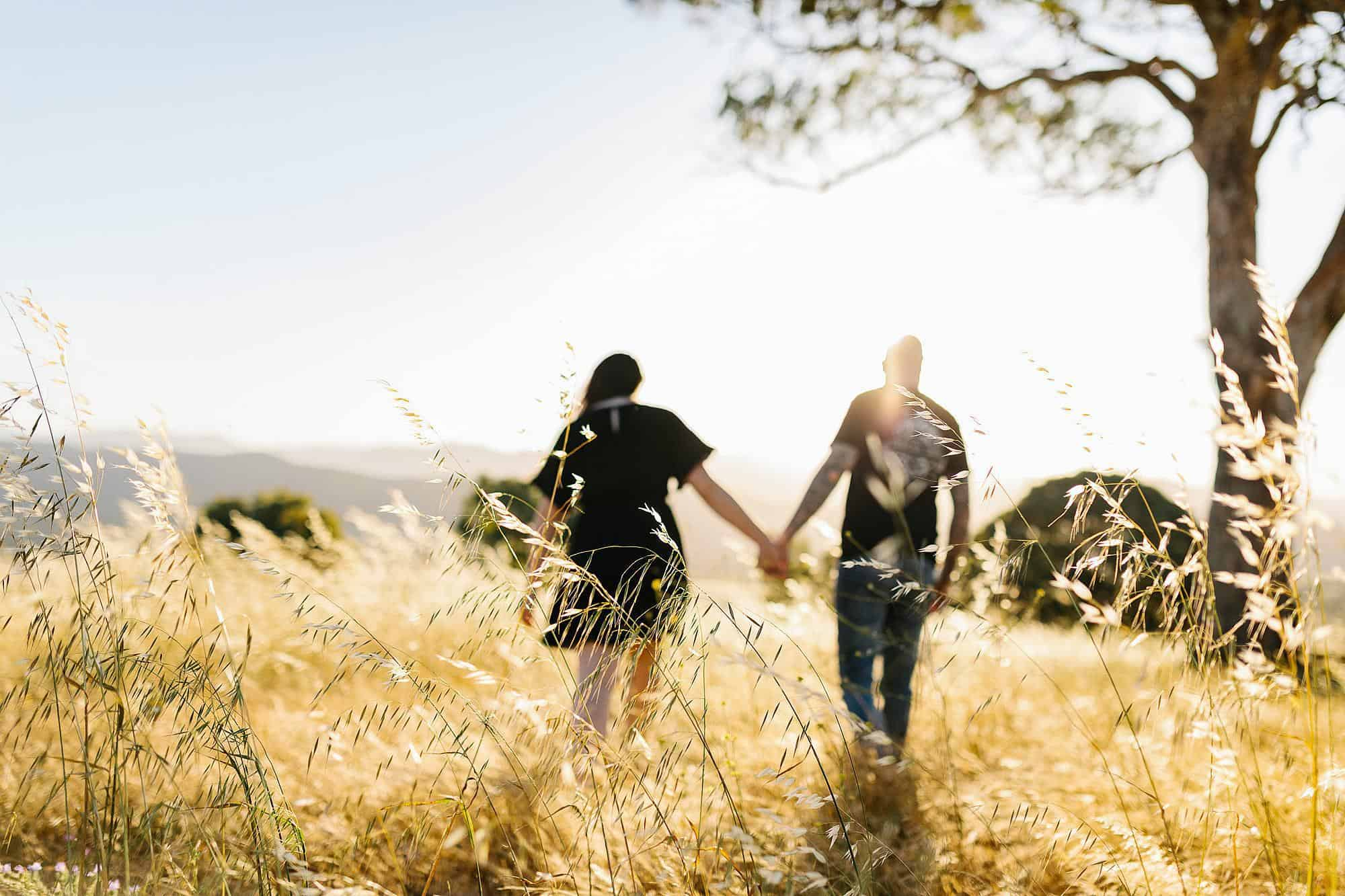 Couple walks in a field of long grass